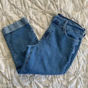 NYDJ Cropped Denim, Medium Wash, Cuffed, Size 8
